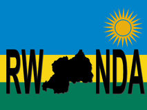 Rwanda text with map Royalty Free Stock Photography