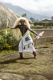 Rwanda - Tribal dancer. MUSANZE, RWANDA - Tribal Dancer of the Batwa Tribe Perform Traditional Intore Dance to Celebrate the Birth of an Endangered Mountain Stock Image