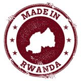 Rwanda vector seal. Vintage country map stamp. Grunge rubber stamp with Made in Rwanda text and map, vector illustration Royalty Free Stock Photos