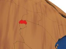 Rwanda on wooden globe Royalty Free Stock Image