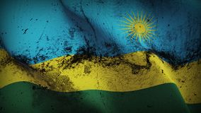 Rwanda grunge dirty flag waving on wind. Rwandan background fullscreen grease flag blowing on wind. Realistic filth fabric texture on windy day Royalty Free Stock Image