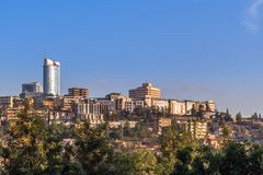 Rwandan capital downtown ladscape with living houses and busines. S buildings, Kigali, Rwanda stock images
