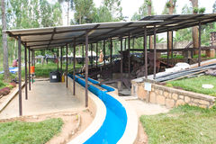 Rwandan coffee washing and dry station Royalty Free Stock Photos