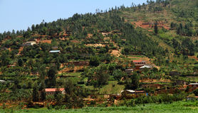 Rwandan Countryside. Country homes in Rwanda built into the hills royalty free stock images