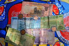 Rwandan Currency. A collection of Rwandan currency, bank notes and coins royalty free stock images
