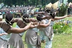 Rwandan dancers. At the Kwita Izina ceremony, June 5th 2010, Kinigi, Rwanda: music and dance are an integral part of Rwandan ceremonies, festivals, social Royalty Free Stock Photo