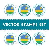 Rwandan flag rubber stamps set. National flags grunge stamps. Country round badges collection Royalty Free Stock Photo