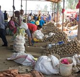 Rwandan market. Rwanda is a country of few natural resources, and the economy is based mostly on subsistence agriculture by local farmers using simple tools Stock Photo