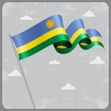 Rwandan wavy flag. Vector illustration. Royalty Free Stock Photography