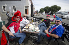 RWC supporters. French and Canadian rugby supporters gather at bars and cafes in the Ahuriri area of Napier prior to France v Canada Rugby World Cup game that Stock Images