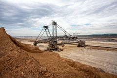 Brown coal open pit inden and excavator Germany power industry royalty free stock photos
