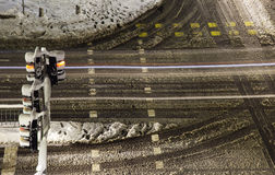 RWinter snowy crossroad intersection. Royalty Free Stock Photography