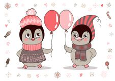 Cute little penguins girl in warm clothes and ear muffs Royalty Free Stock Photo