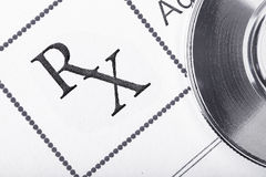 RX处方形式和听诊器的片段 图库摄影
