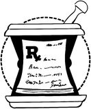 RX-Auflage auf Mörser Lizenzfreie Stockfotografie