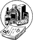 RX-Auflage mit Drogen Stockbilder