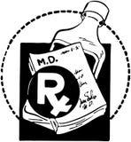 RX-block med flaskan av medicin Royaltyfri Fotografi