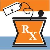 RX-bunke med prislappen Royaltyfri Illustrationer