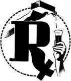 RX com a medicina derramada Fotos de Stock Royalty Free