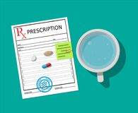Rx, glass of water and pills. Taking medication. Rx prescription recipe, glass of water and pills. Taking medication concept. Medical drug, vitamin, antibiotic Royalty Free Stock Images
