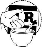 RX-Karte in der Hand und Mörser Stockfoto