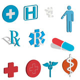 RX and medical icons royalty free illustration