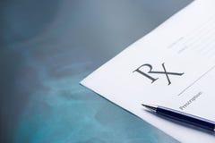 RX medical prescription form pen. RX medical prescription form & pen Stock Photo