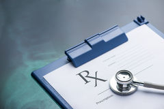 RX medical prescription form Stethoscope Royalty Free Stock Photography
