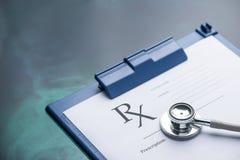 RX medical prescription form Stethoscope. RX medical prescription form & Stethoscope Royalty Free Stock Photography