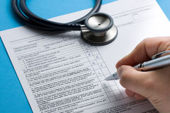 Rx Patient Info Hand Writing Pen Stethoscope stock photography