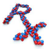 RX - Pharmacy Symbol - Capsule Pills. Many blue and red capsules form Rx pharmacist symbol Stock Images
