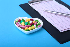RX prescription and colorful assortment pills and capsules on plate. Royalty Free Stock Photos