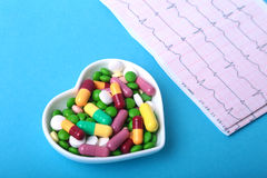 RX prescription and colorful assortment pills and capsules on plate. Royalty Free Stock Photo