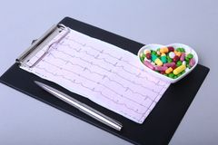 RX prescription and colorful assortment pills and capsules on plate. Royalty Free Stock Image