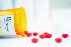 RX prescription drug bottle. Selective focus stock images