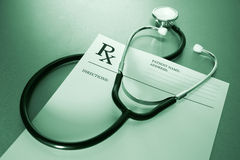 RX prescription form and stethoscope Royalty Free Stock Image