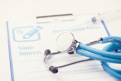 RX prescription form and stethoscope.  Stock Photo