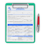RX prescription pad and ballpoint pen Royalty Free Stock Images