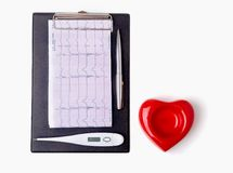 RX prescription, Red heart, medical thermometer on white background.  royalty free stock photography