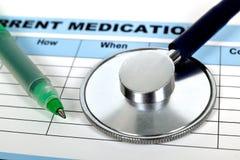 Rx prescription. Stethoscope on a rx prescription, close up Royalty Free Stock Image