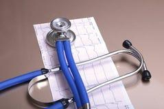 RX-recept, röd hjärta, asorted pils och en stetoskop på vit bakgrund Fotografering för Bildbyråer