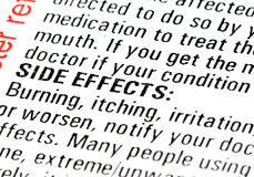 Rx Warning. Fine prints in a prescription drug or medicine explanation sheet showing the side effects section Royalty Free Stock Photos