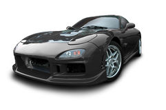 RX7 sports car isolated on white. A Black Mazda RX7 Sports Car isolated on white. Clipping Path on vehicle. This is an actual photo, not 3-D rendering Stock Photo