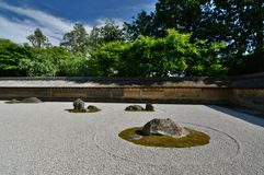 Detail of the Dry Garden. Ryoan-ji zen temple. Kyoto. Japan. Ryōan-ji is a Zen temple located in northwest Kyoto; the Ryōan-ji garden is considered one of the Royalty Free Stock Image