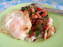 ryż nakrywający z crabmeat i basilem Obraz Royalty Free