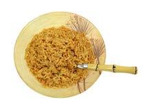 Ryżowego makaron porci pucharu Łyżkowy Odgórny widok Obraz Royalty Free