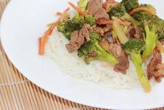 ryżowi wołowina brokuły Obrazy Royalty Free
