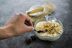 Ryżowy pudding i cynamon zdjęcia stock
