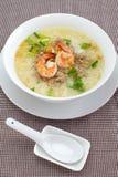 Ryżowy zupny puchar z garnelą Zdjęcia Stock