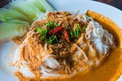 Ryżowi wermiszel z curry'ego kumberlandem Zdjęcie Stock